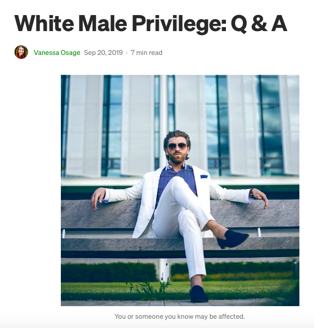 Guest Blog: White Male Privilege: Q & A, A Book Excerpt by Vanessa Osage